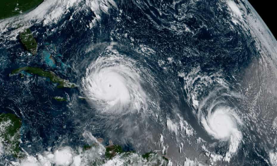 Satellite image of Hurricanes Irma and Jose.