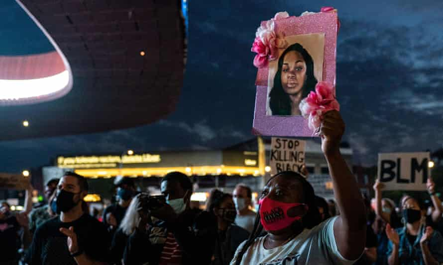 A sign with a portrait of Breonna Taylor is seen in Brooklyn, New York, on 25 September 2020.