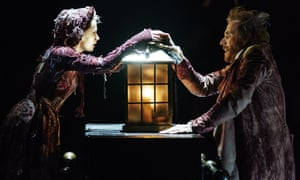 Melissa Allan as Little Fan and Rhys Ifans as Ebenezer Scrooge in A Christmas Carol at the Old Vic