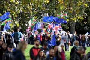 Protesters gather in Green Park, central London.