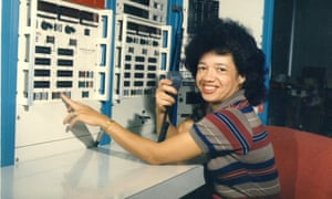 Christine Darden (nee Mann) in the control room of Nasa Langley's Unitary Plan Wind Tunnel in 1975.