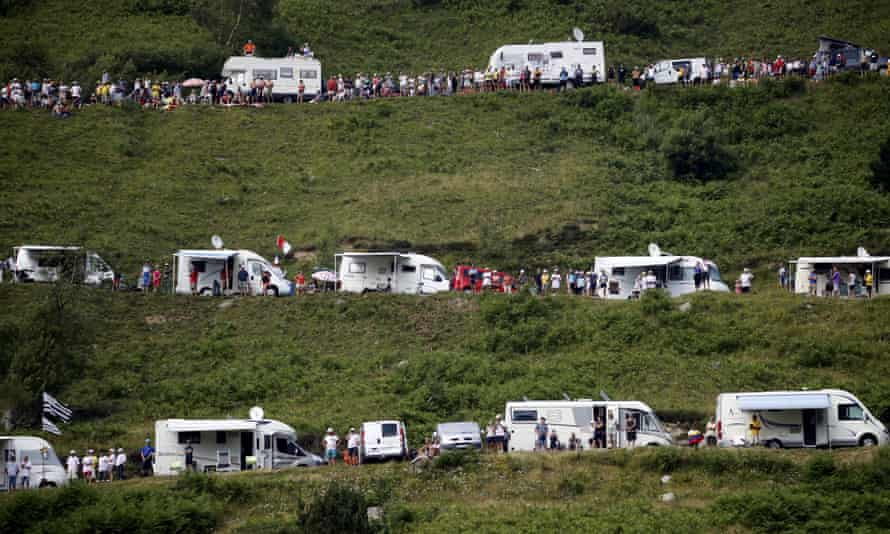 Camping cars are parked along the road of the Tourmalet pass in anticipation of the 14th stage between Tarbes and the famous pass.