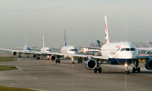 Planes on the runway at Heathrow