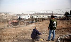 Israeli settlers at Amona, near Ramallah in the West Bank.