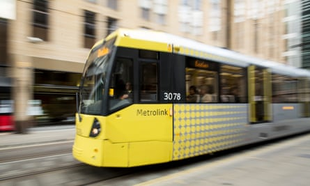 Metrolink trams in Manchester city centre.