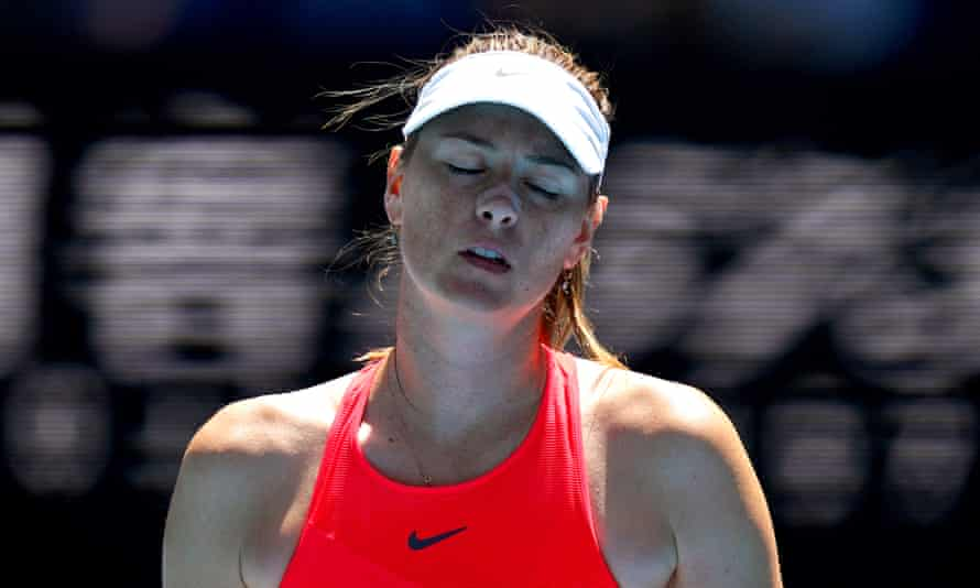 Maria Sharapova during her first-round defeat to Donna Vekic.