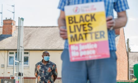 A Black Lives Matter sign at a protest over the tasering of Desmond Mombeyarara