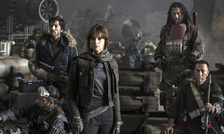 Some of the cast of the film Star Wars: Rogue One, which was shot at Pinewood Studios over the summer.