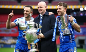 Leeds Rhinos head coach Richard Agar celebrates his side's Challenge Cup victory over Salford with Luke Gale and Richie Myler.