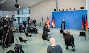 Angela Merkel makes a press statement on the spread of the new coronavirus on March 22, 2020.