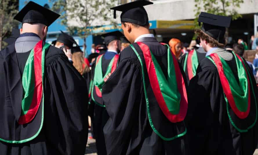 Students at a graduation ceremony at Aberystwyth university