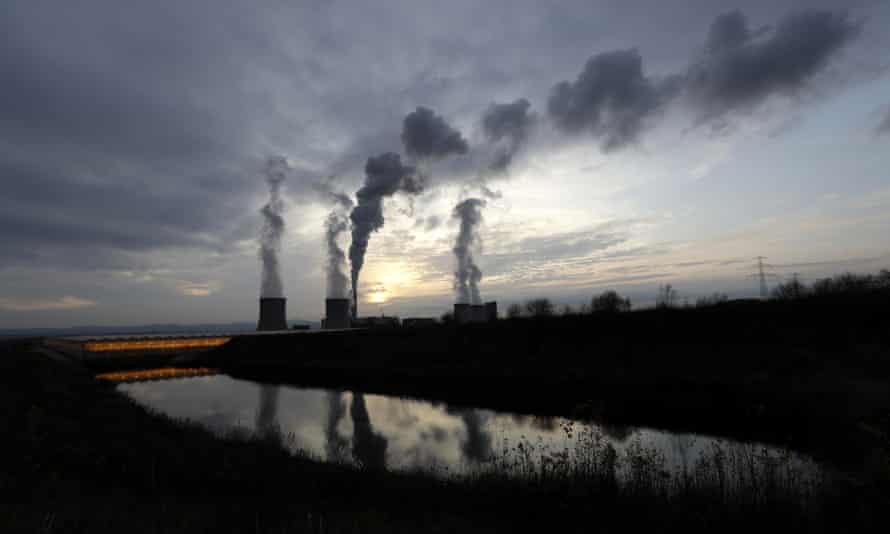 Smoke rises from chimneys of the Turow power plant  near Bogatynia, Poland