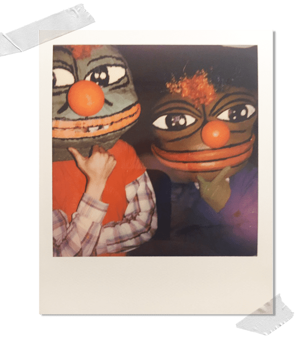 Two Pepe the Frog enthusiasts. They said they were unaware of its alt-right association.