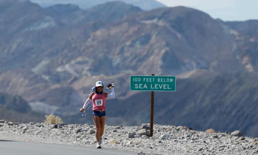 Ultrarunner Shannon Farar-Griefer in Death Valley for the 135 mile Badwater Ultramarathon.