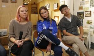 Olga Kuracheva and Veronica Nikulshina of Russian punk band Pussy Riot and Joshua Wong at a dialogue on art and freedom of expression in Hong Kong.