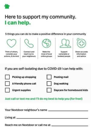 Community website Nextdoor's Covid 19 flyer