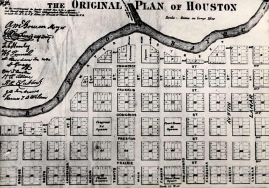 An 1869 map of Houston and the bayou.