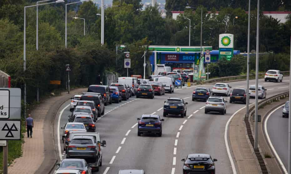 Queues for petrol in Chingford, London.