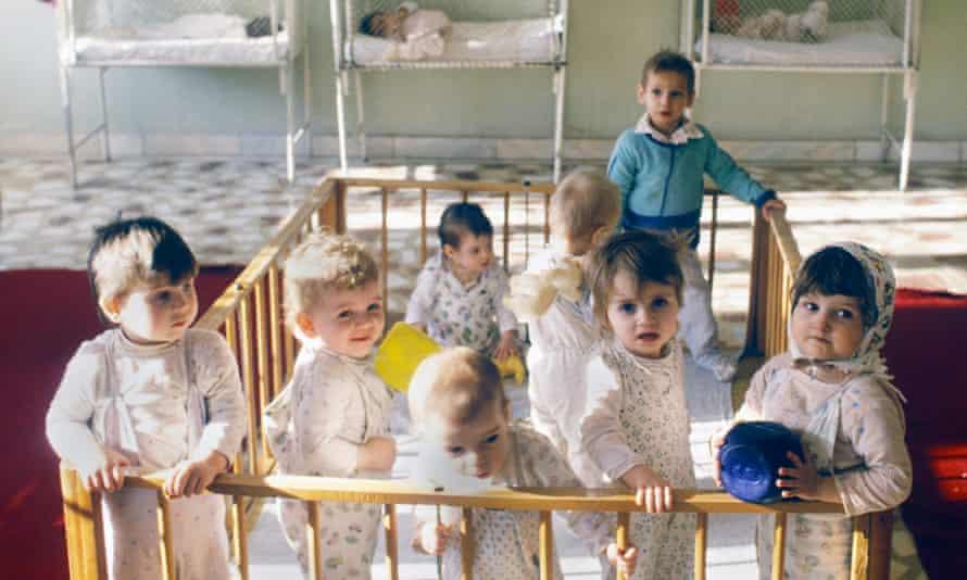 Children at an orphanage in Bucharest