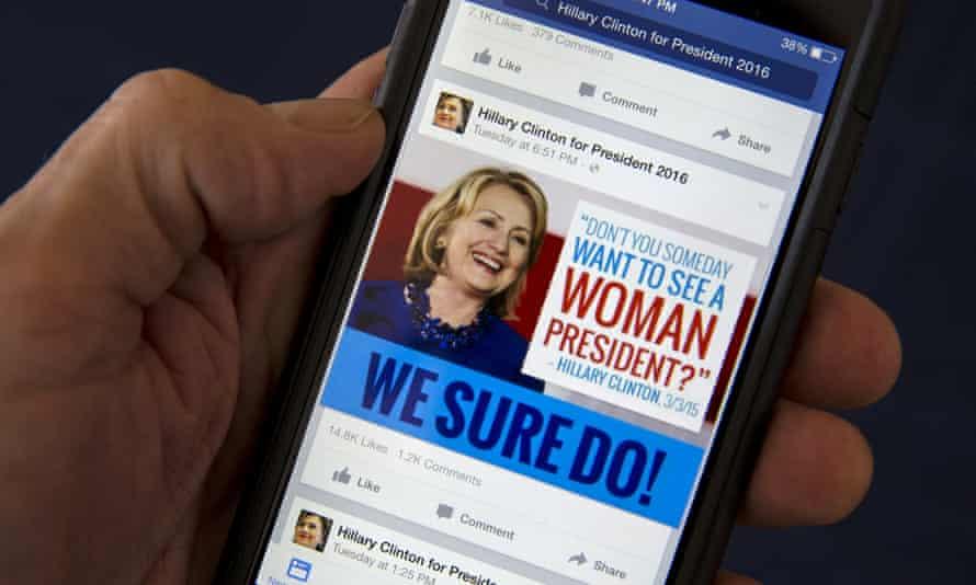 A Facebook page promotes Hillary Clinton as president.