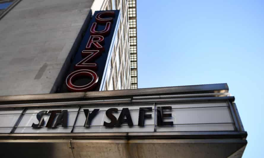 A 'stay safe' sign outside a Curzon cinema.
