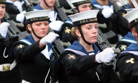 Female sailors from the Royal Navy HMS Illustrious strike carrier.