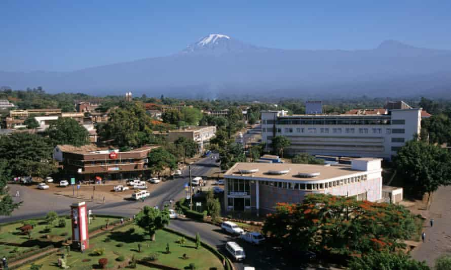 The town of Moshi, located at the foot of the Kilimanjaro range, in Tanzania.