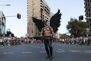 A reveller on Oxford Street, Sydney, before the Gay and Lesbian Mardi Gras parade in March