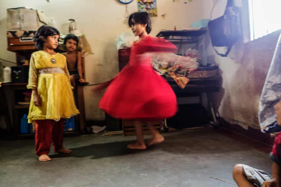 Fatema shows off her new dress, from Still She Smiles, 2014