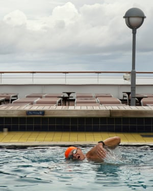 A passenger in the ship's pool.