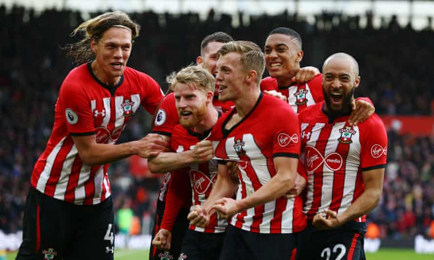 James Ward-Prowse is mobbed by his teammates after bending in another beauty to earn Southampton a crucial victory against Tottenham.