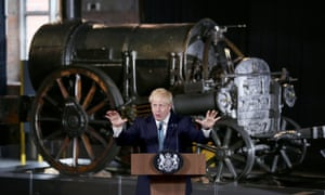 Boris Johnson in front of an engine Manchester