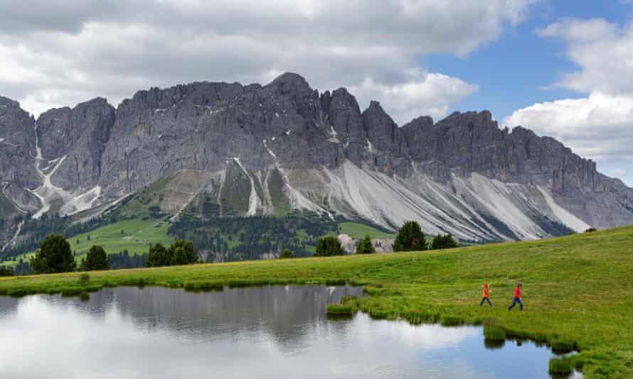 Walking in the Dolomites near Bolzano.