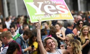 Women celebrate the result of the constitutional referendum in Dublin in 2018.