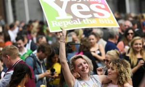 Women celebrate the result of the referendum on liberalising Ireland's abortion law in Dublin in May 2018