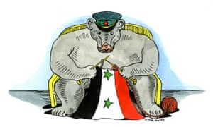 Russian bear repairs Syrian flag, illustration by Andrzej Krauze