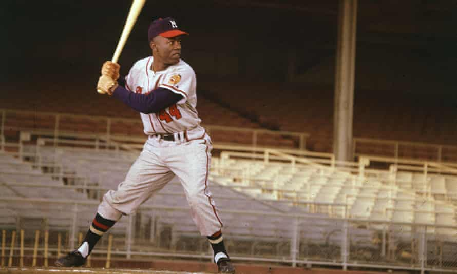 Hank Aaron in 1955, during his second major league season with the Milwaukee Braves.