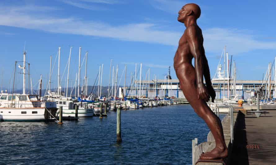 Solace in the Wind ... Sculptor Max Patte's figure leans into the breeze in Wellington harbour.