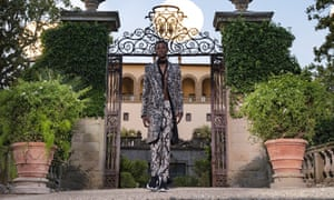 A model walks the runway at a Florentine villa as part of a Givenchy fashion show.