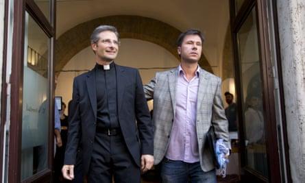 Krzysztof Charamsa, left, and his boyfriend Eduard