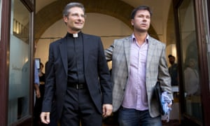 Monsignor Krzysztof Charamsa, left, with his boyfriend Eduard, surname not given. Charamsa told Corriera della Sera he was proud of his identity as a gay priest.