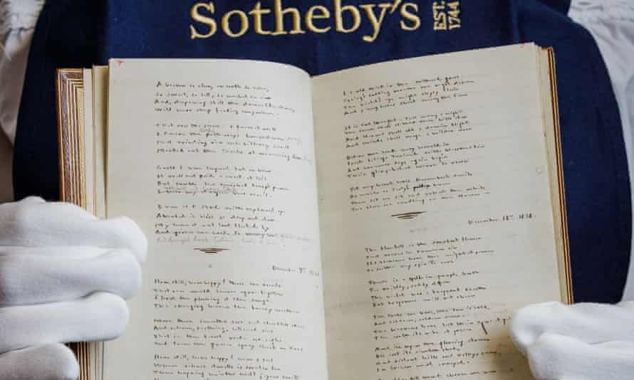 The handwritten manuscript of Emily's poems with pencil corrections by Charlotte, set to be auctioned later this year at Sotheby's.
