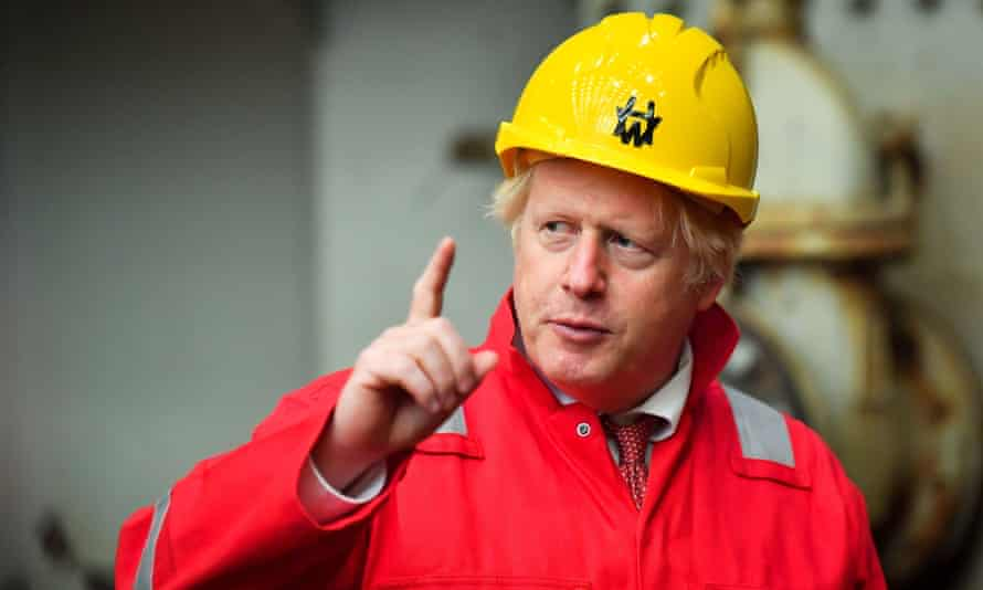 Boris Johnson during a visit to Appledore shipyard in south-west England.