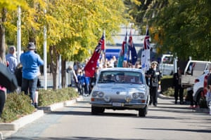 Crowds gather in the main street of Harden to watch the Anzac Day march for Harden/ Murrumburrah on the South-West slopes of NSW 60kms North-West of Yass NSW this morning. Sunday 25th April 2021. Photograph by Mike Bowers. Guardian Australia
