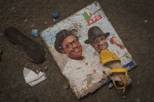 Port Harcourt, Nigeria. Shoes and campaign material are left behind at the Adokiye Amiesimaka stadium where at least15 people were killed on Tuesday in a stampede during a rally for Nigeria's incumbent president, Muhammadu Buhari