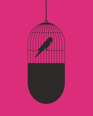 Noma Bar illustration of bird in cage shaped like a pill