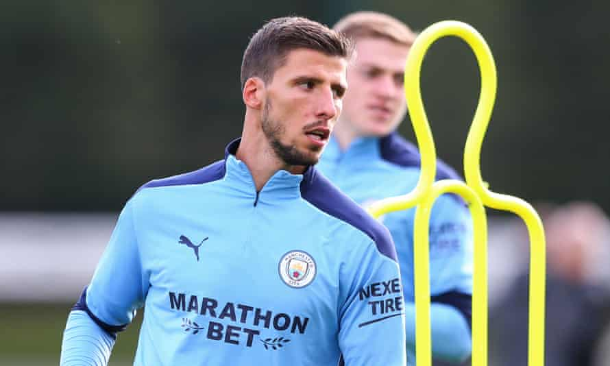 Rúben Dias training with Manchester City this week. His focused, professional attitude has impressed his new manager, Pep Guardiola.
