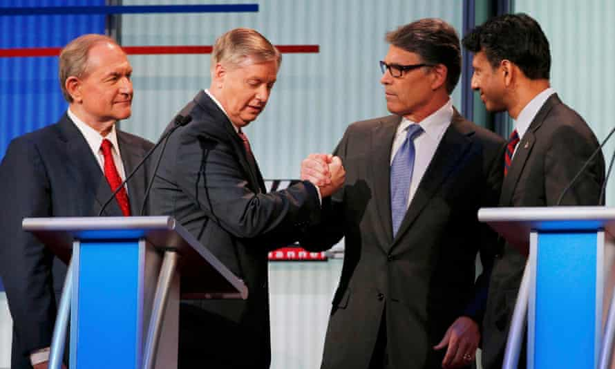 Graham with Jim Gilmore, Rick Perry and Bobby Jindal at a 'kids' table' debate in Cleveland in August 2015.