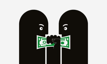 illustration for long read about the minimum wage: two cartoon faces arguing over a dollar bill