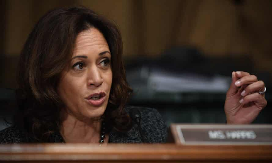 Kamala Harris talks to Dr Christine Blasey Ford during a Senate judiciary committee testimony in Washington DC, on 27 September 2018.